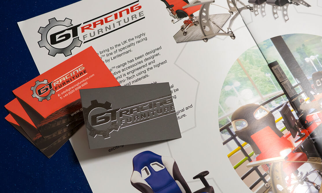 GT Racing Furniture cards and brochure