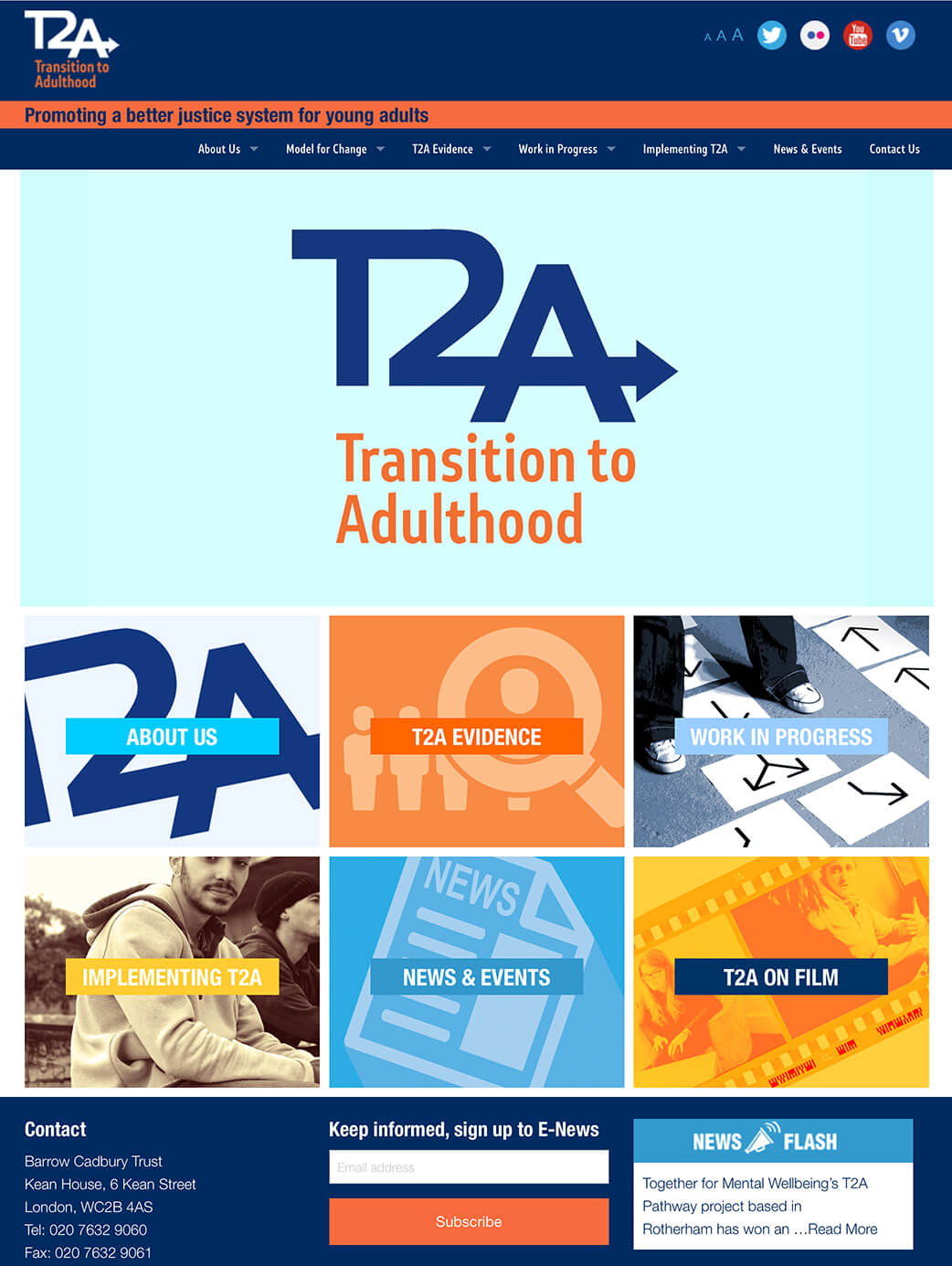T2A website home page graphics